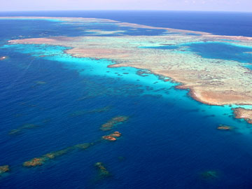 aerial view of the great barrier reef off the east coast of australia