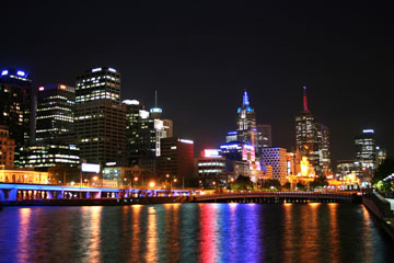 melbourne australia skyline at night